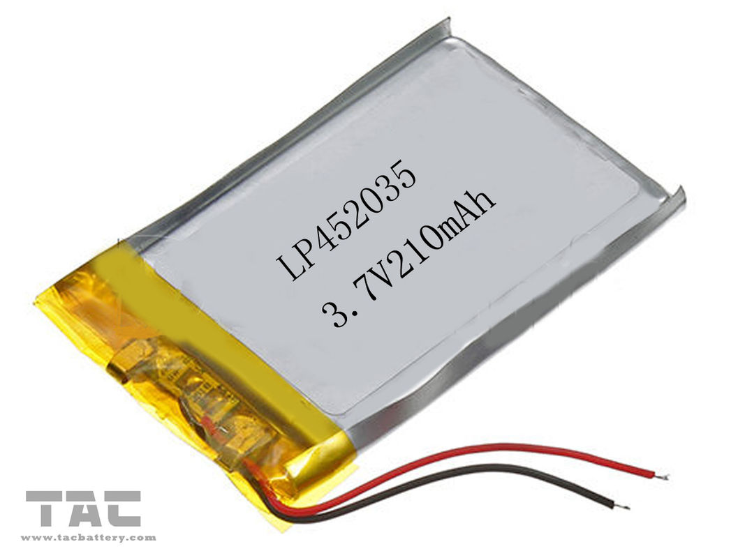 3.7 Volt 210 MAH Li Ion Polymer Battery , Gsp452035 Li - Polymer Battery Pack
